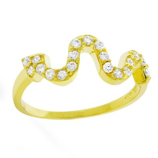 Yellow Goldplated Silver Fancy Snake Wavy Cubic Zirconia Ring