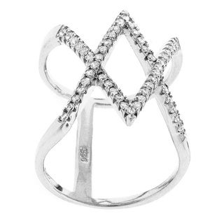 Rhodium-plated Silver Cubic Zirconia Micro Pave Criss Cross Double X Ring