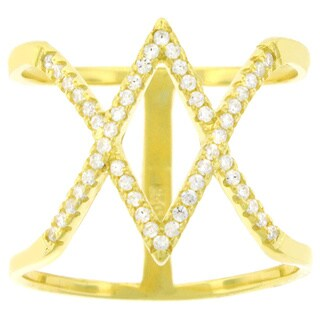 Yellow Goldplated Silver Cubic Zirconia Micro Pave Double X Ring
