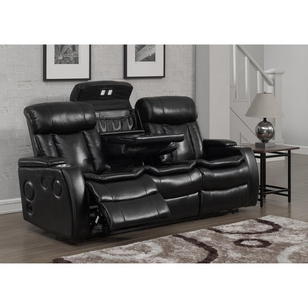 Smart Tech Bluetooth Power Reclining Black Sofa