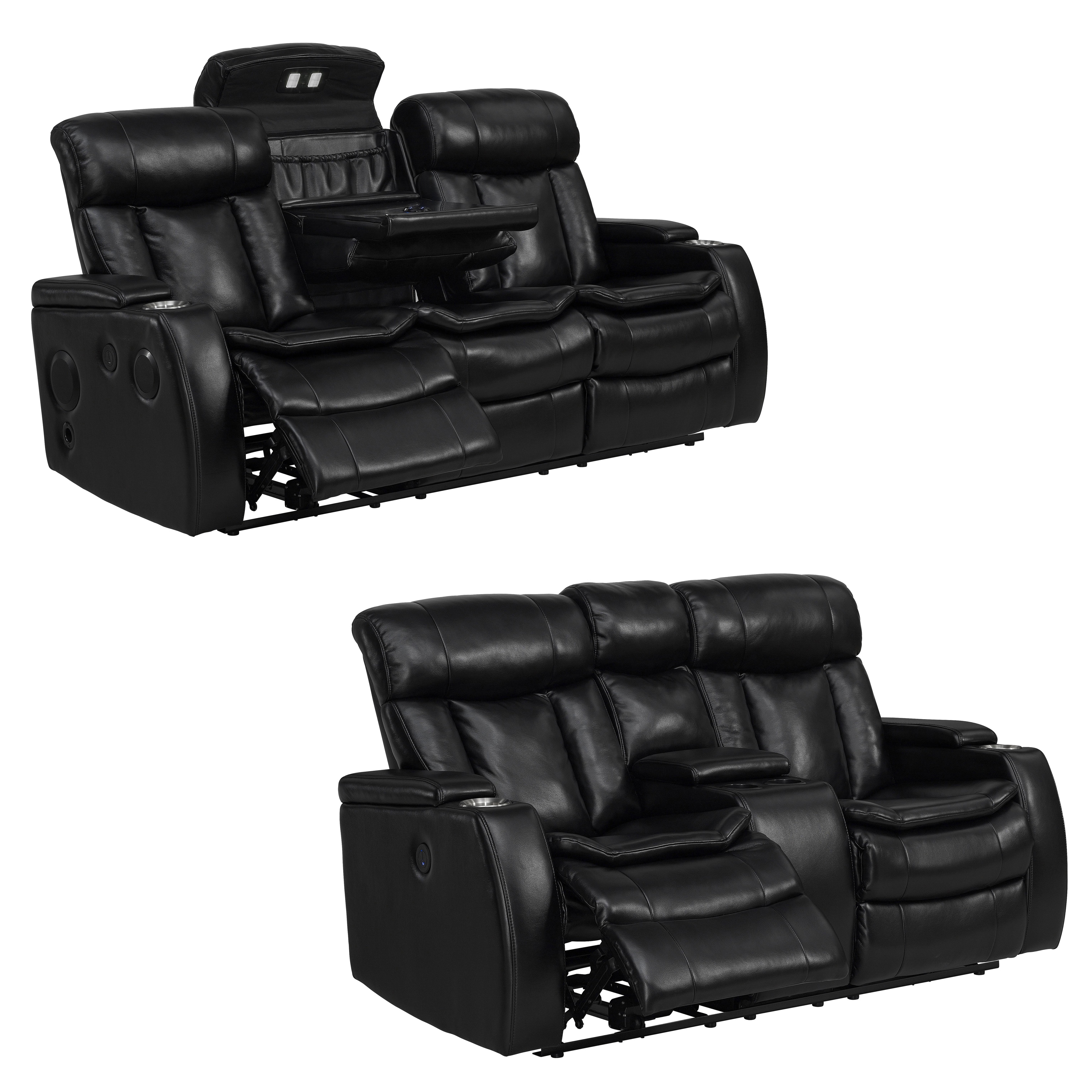 Twice Smart Tech Bluetooth Power Reclining Black Sofa and...