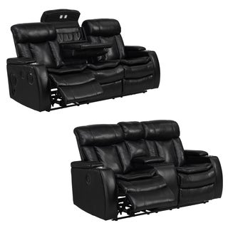 Smart Tech Bluetooth Power Reclining Black Sofa and Loveseat