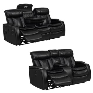 Smart Tech Bluetooth Power Reclining Black Sofa and Loveseat  sc 1 st  Overstock.com & Power Recline Sofas Couches u0026 Loveseats - Shop The Best Deals for ... islam-shia.org