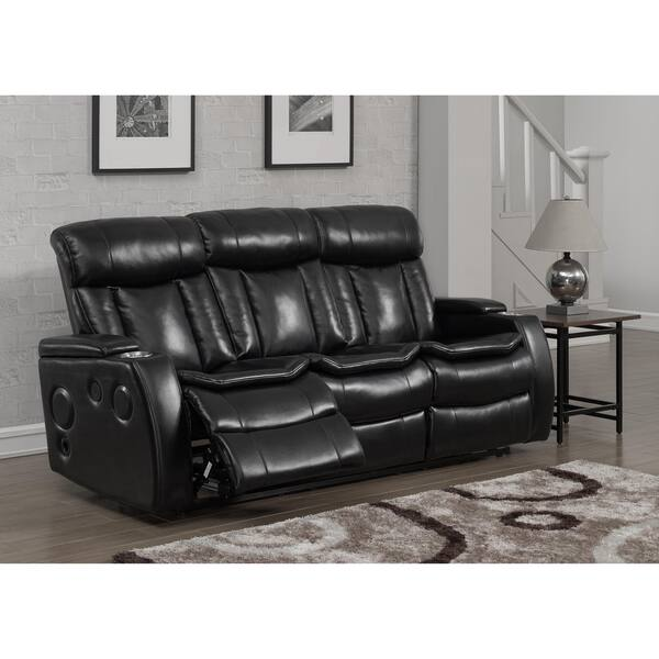 Magnificent Shop Smart Tech Bluetooth Power Reclining Black Sofa And Customarchery Wood Chair Design Ideas Customarcherynet