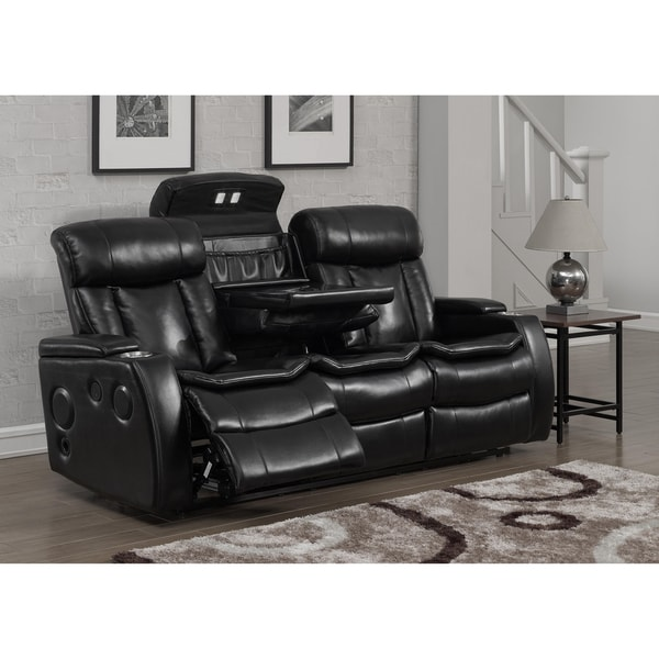 Smart Tech Bluetooth Power Reclining Black Sofa And Loveseat   Free  Shipping Today   Overstock.com   18140328