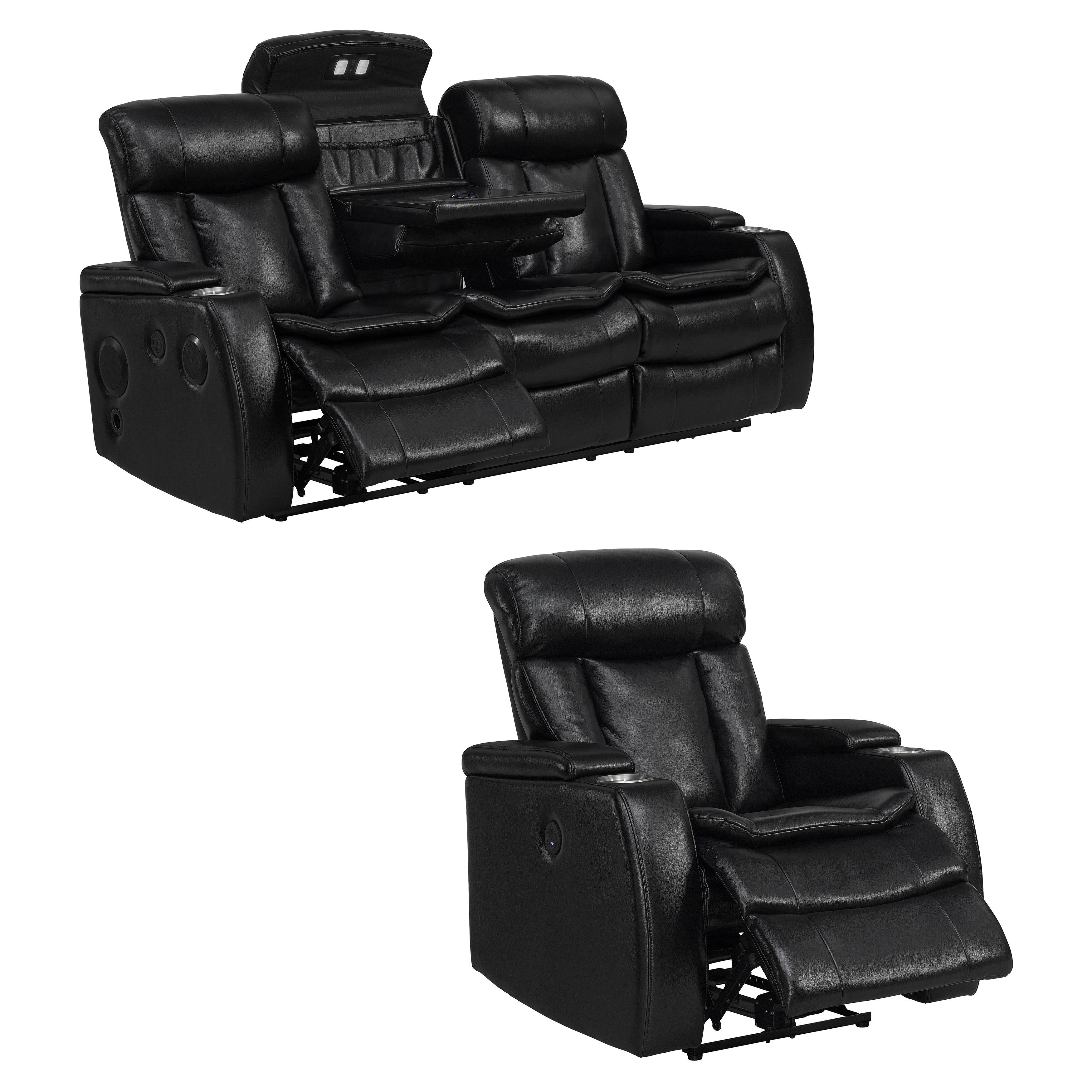 Twice Smart Tech Bluetooth Power Reclining Black Sofa and...