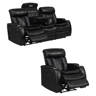 Smart Tech Bluetooth Power Reclining Black Sofa and Recliner Chair