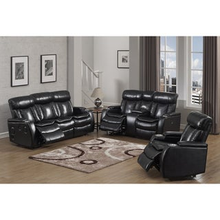 Smart Tech Bluetooth Power Reclining Black Sofa, Loveseat and Chair