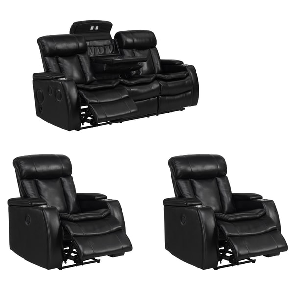 Smart Tech Bluetooth Power Reclining Black Sofa and Two Chairs  sc 1 st  Overstock.com & Smart Tech Bluetooth Power Reclining Black Sofa and Two Chairs ... islam-shia.org