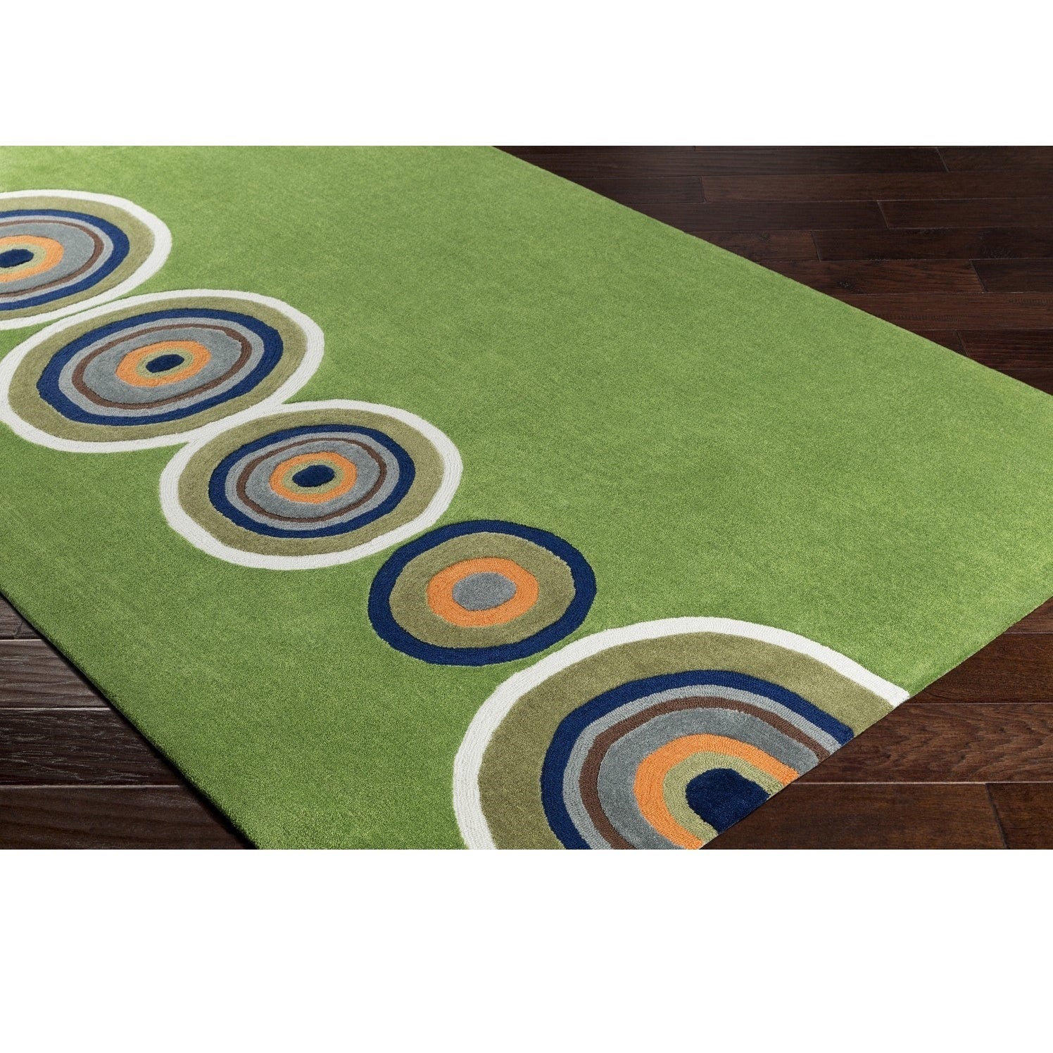 Hand Tufted Clarion Poly Acrylic Rug (5' x 7'6) (Green) (...