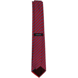 Versace 100-percent Italian Silk Red/ Blue Stripes Neck Tie