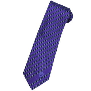 Versace 100-percent Italian Silk Grape Purple/ Blue Stripe Neck Tie