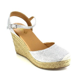 Beston AB03 Women's Glitter Espadrille Platform Wedge Sandals