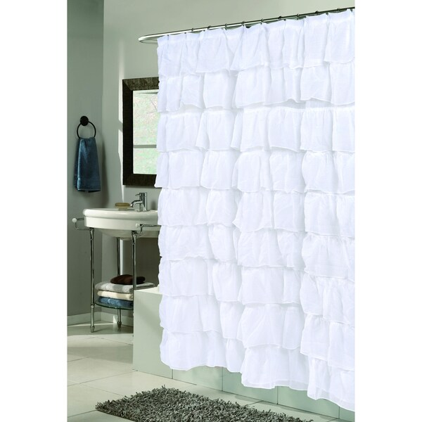 Carmen Polyester Ruffled Shower Curtain