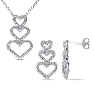 Miadora Sterling Silver Diamond Accent Triple Heart Necklace and Earrings Set (G-H, I2-I3)