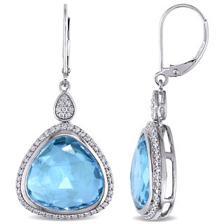 Miadora Signature Collection 14k White Gold Blue Topaz and 1/2ct TDW Diamond Dangle Earrings