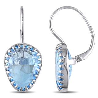 Miadora Signature Collection 14k White Gold Blue Topaz Dangle Earrings