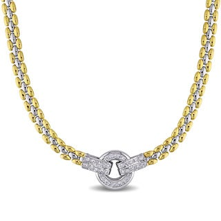Miadora Signature Collection 18k Two-tone Gold 1/2ct TDW Diamond Station Necklace