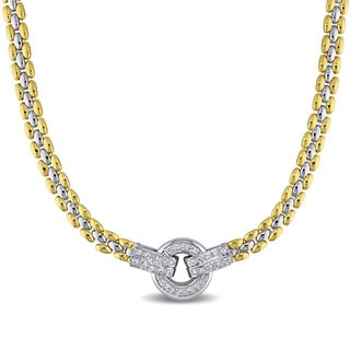 Miadora Signature Collection 18k Two-tone Gold 1/2ct TDW Diamond Station Necklace (F-G, VS1-VS2)