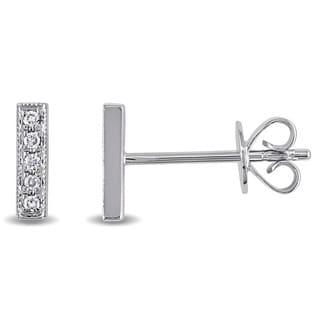 Miadora 14k White Gold Diamond Accent Bar Earrings