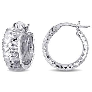Miadora 14k White Gold Italian Diamond Cut Hoop Earrings