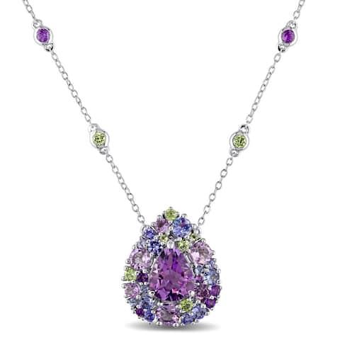 Miadora Sterling Silver Tanzanite, Rose de France, Peridot and Amethyst Teardrop Necklace - Purple