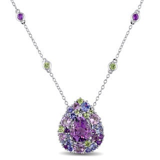 Miadora Sterling Silver Tanzanite, Rose de France, Peridot and Amethyst Teardrop Necklace