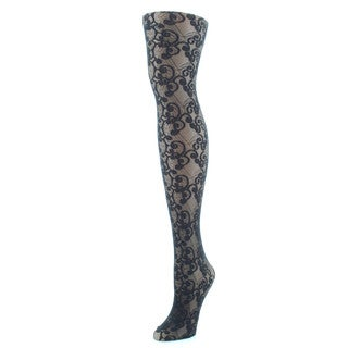 Memoi Women's All Over Swirl Sheer Tights