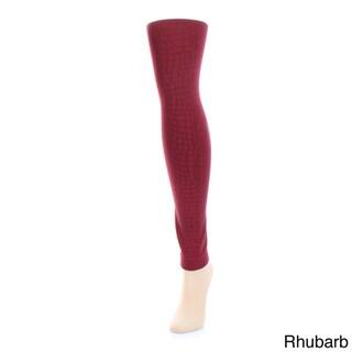 Memoi Women's Snakeskin Fleece Footless Tights