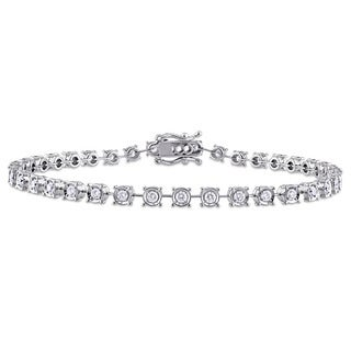 Miadora Signature Collection 18k White Gold 1 1/6ct TDW Diamond Tennis Bracelet (G-H, SI1-SI2)