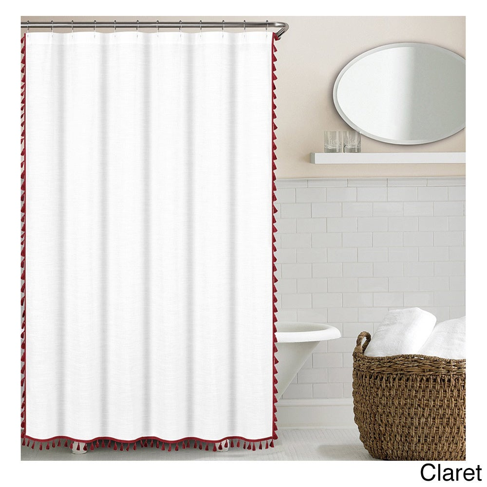 """Echelon Home Tassel Shower Curtain (Claret), Size 72"""" x 7..."""