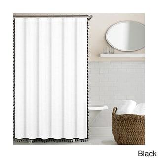 Echelon Home Tassel Shower Curtain