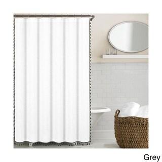 Echelon Home Tassel Shower Curtain (Option: Grey)