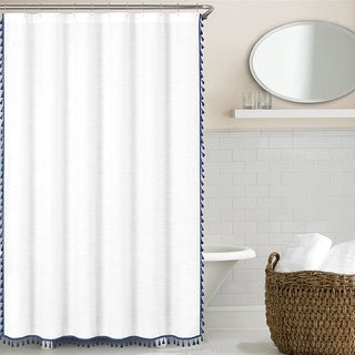 Echelon Home Tassel Shower Curtain
