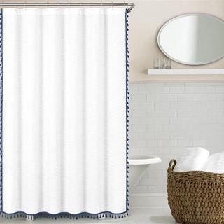 echelon home tassel shower curtain option blue