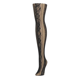 Memoi Women's Linear Floral Net Tights