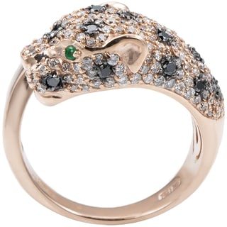 EFFY Final Call 14k Rose Gold 1ct TDW Black Diamond and Emerald Ring (Size 7)