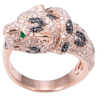 EFFY Final Call 14k Rose Gold 1 1/3ct TDW Black Diamond and Jaguar Emerald Ring (Size 7)