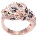 EFFY Final Call 14k Rose Gold 1 1/3ct TDW Black Diamond and Jaguar Emerald Ring (Size 7)