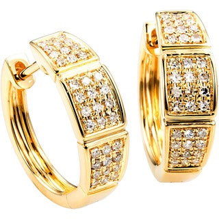 EFFY Final Call 14k Yellow Gold 1/3ct TDW Diamond Pave Earrings (D-E, VS1-VS2)