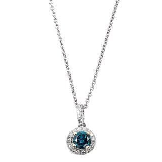EFFY Final Call 14k Two-tone Gold 2/5ct TDW Blue Diamond Pendant (D-E,VS1-VS2)