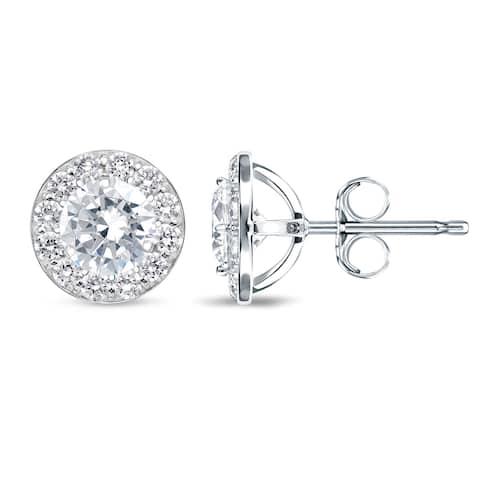 Auriya 1/2 to 2ctw Round Halo Diamond Stud Earrings 14k White Gold