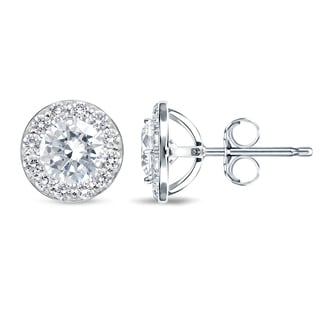 Auriya 14k White Gold Round Diamond Halo Earrings
