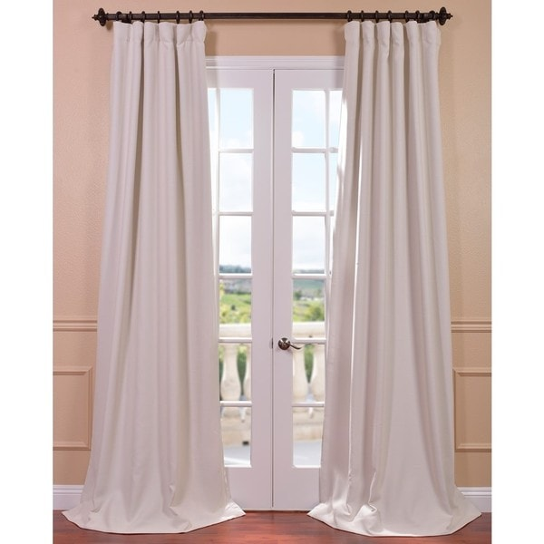 Exclusive Fabrics Cottage White Bellino Single Panel Blackout Curtain 108 L As Is Item