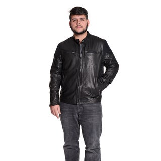 Excelled Men's Leather Classic Vintage Moto Jacket