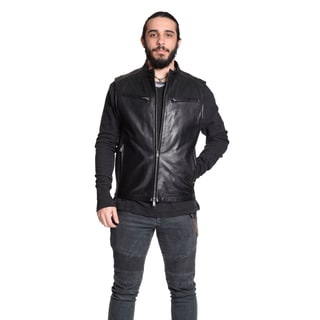 Excelled Men's 100-percent Leather Moto Vest