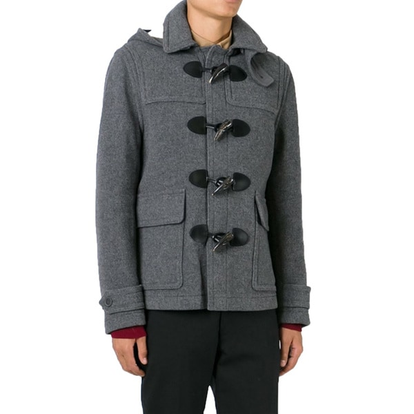 Shop Burberry Men's Burwood Grey Wool Duffle Coat Free