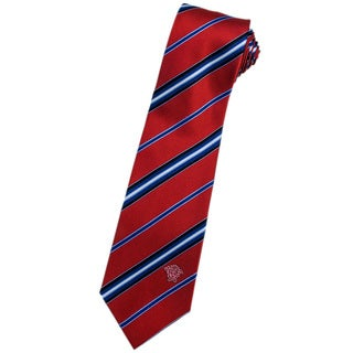 Versace 100-percent Italian Silk Red/ Blue/ Black Stripes Neck Tie