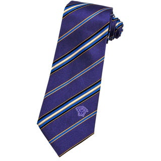 Versace 100-percent Italian Silk Purple/ Gold/ Blue Stripes Neck Tie