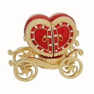 Red Pewter Heart Shaped Carriage Trinket Box with Ring Insert